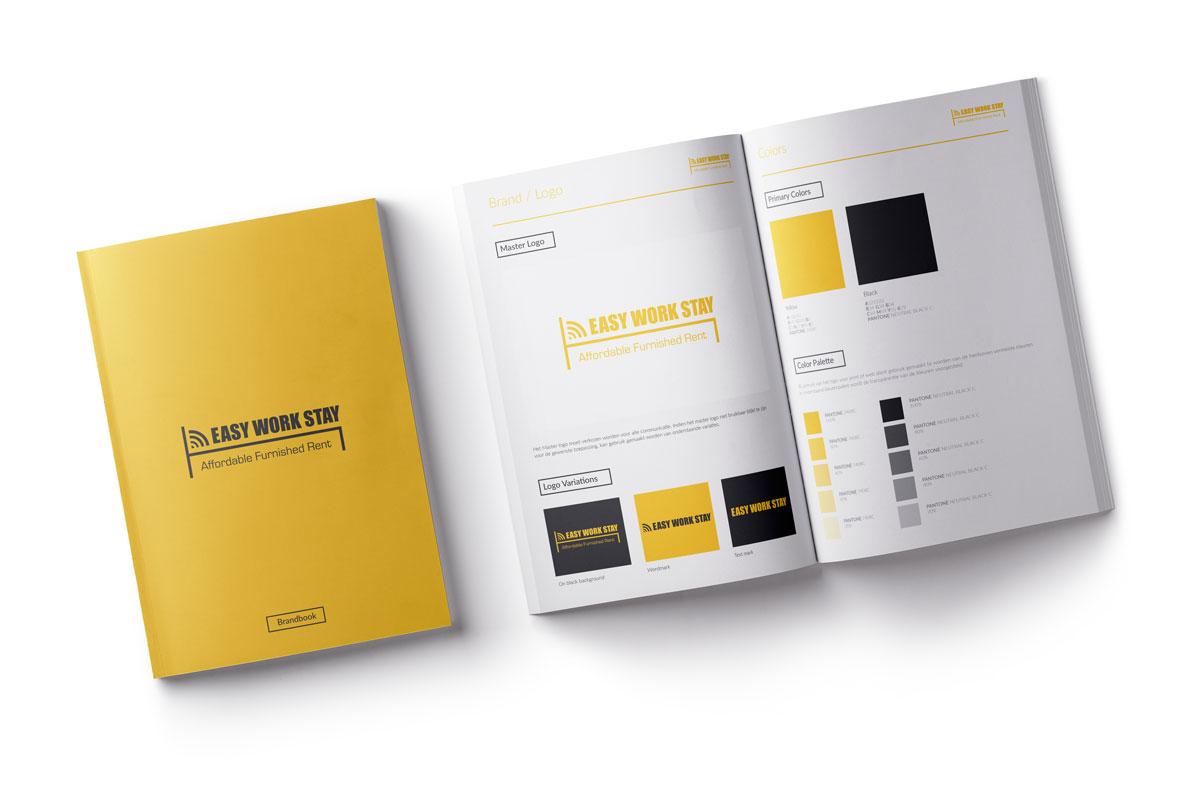 Mioo Design - Easy Work Stay Huisstijl ontwerp - Brandbook - Creatief reclamebureau Roeselare & Communicatiebureau Roeselare - Grafisch ontwerp - Freelancer - West-Vlaanderen - Brugge - Kortrijk