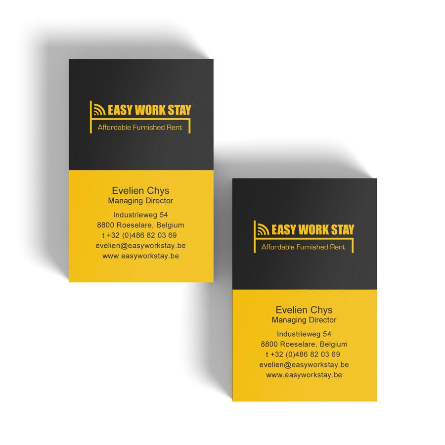 Mioo Design - Easy Work Stay Visitekaartje ontwerp - Creatief reclamebureau Roeselare & Communicatiebureau Roeselare - Grafisch ontwerp - Freelancer - West-Vlaanderen - Brugge - Kortrijk