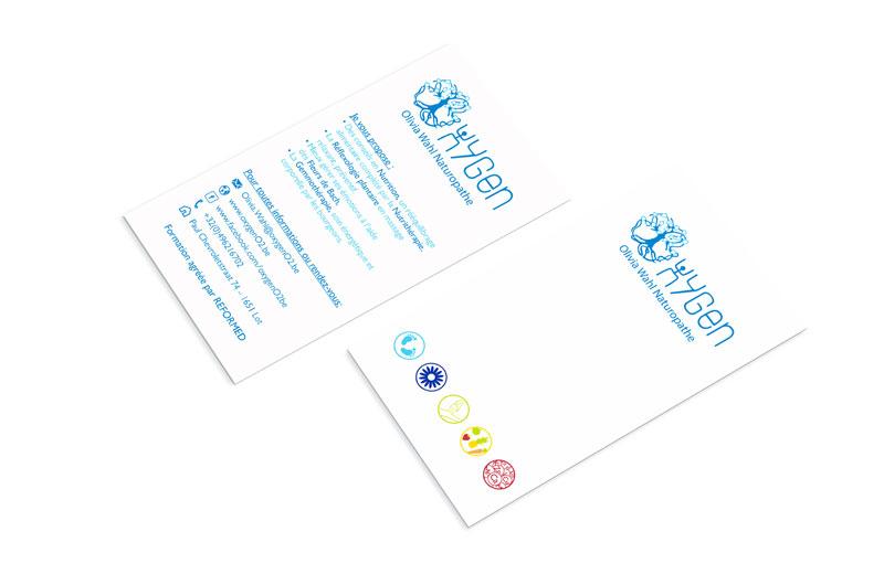 Mioo Design - Oxygen Visitekaartje ontwerp - Creatief reclamebureau Roeselare & Communicatiebureau Roeselare - Grafisch ontwerp - Freelancer - West-Vlaanderen - Brugge - Kortrijk