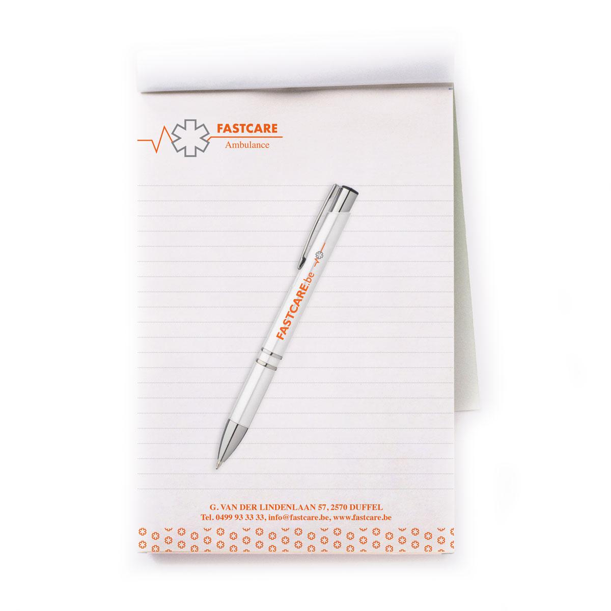 Mioo Design - Fastcare ontwerp notitieboek en balpennen - Brandbook - Creatief reclamebureau Roeselare & Communicatiebureau Roeselare - Grafisch ontwerp - Freelancer - West-Vlaanderen - Brugge - Kortrijk